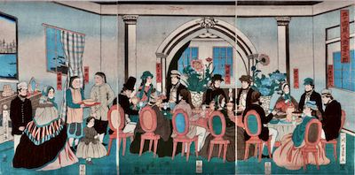 Yoshikazu, Foreigners from the Five Nations Enjoying a Banquet