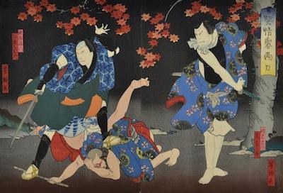 Yoshitaki, Bando Hikosaburo and Arashi Rikan in the play Keisei Homare no Ryo-to