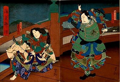 Yoshitaki, Benkei and Yoshitsune at Gojo Bridge