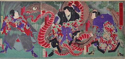Yoshitaki, Minamoto no Yorimitsu Fighting Hakamadare and the Magic Snake