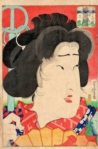 Yoshitora, Actor Portraits Past and Present - Okubi-e of Bando Mitsugoro as Geisha Miyokichi