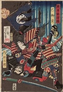 Yoshitoshi, Famous Fights Between Brave Men - Tomoe Gozen