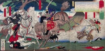 Yoshitoshi, Colonel Nozu Fighting with Kirino Toshiaki at Kagoshima