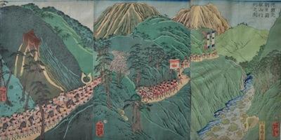 Yoshitoshi, Minamoto Yoritomo at the Hakone Pass