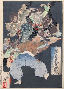 Yoshitoshi, Sagaminokami Hojo Takatoki pestered by Tengu in the Debauches of Later Life