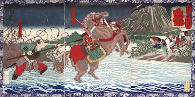 Yoshitoshi, A Record of the Advancement of Toyotomi Hideyoshi - Tokichiro's First Battle at Fujikawa