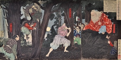 Yoshitoshi, Ushiwaka Maru (Yoshitsune) learns Martial Arts From Sojobo, King of the Tengu