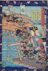 Yoshitsuya, 54 Battle Stories of Hideyoshi - Building a Pontoon Bridge at Seita